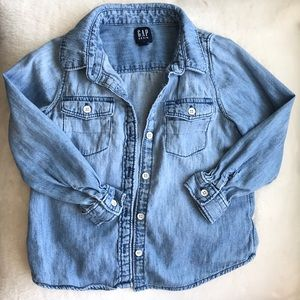 Gap chambray long sleeved button up top 4T